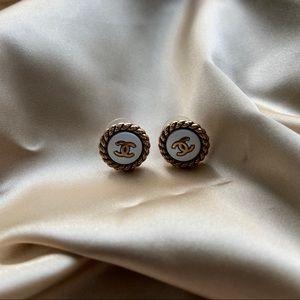 chanel button earrings